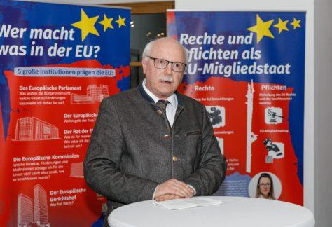 Bezirkshauptmann Johannes Nöbl begrüßt die Gäste bei der EU-Ausstellung in der BH Bludenz.