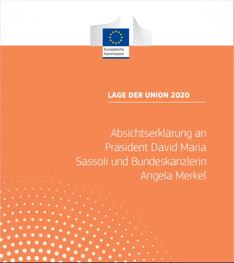 Read more about the article Absichtserklärung an Präsidenten Sassoli und Kanzlerin Merkel vorgeschlagene Initiativen