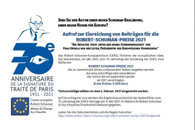 Aufruf zur Einreichung von Beiträgen für die Robert-Schuman-Preise 2021