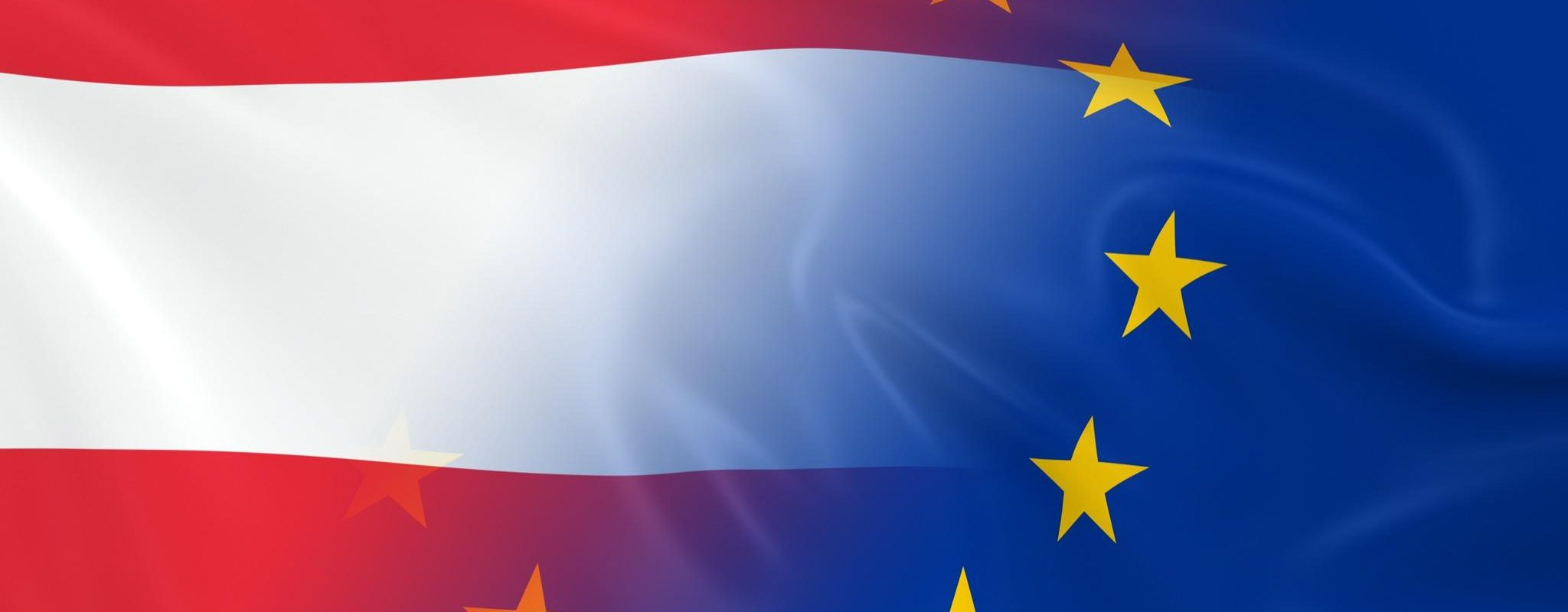 Austrian and European Relations Concept Image - Flags of Austria and the European Union Fading Together